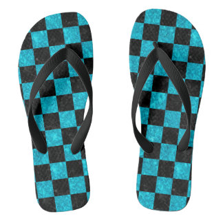 SQUARE1 BLACK MARBLE & TURQUOISE MARBLE FLIP FLOPS