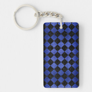 SQUARE2 BLACK MARBLE & BLUE BRUSHED METAL KEYCHAIN