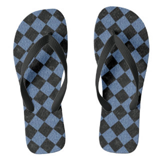 SQUARE2 BLACK MARBLE & BLUE DENIM FLIP FLOPS
