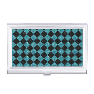 SQUARE2 BLACK MARBLE & BLUE-GREEN WATER BUSINESS CARD HOLDER