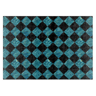 SQUARE2 BLACK MARBLE & BLUE-GREEN WATER CUTTING BOARD