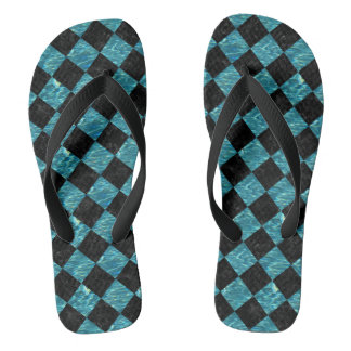 SQUARE2 BLACK MARBLE & BLUE-GREEN WATER FLIP FLOPS