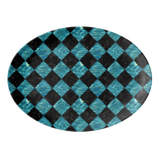 SQUARE2 BLACK MARBLE & BLUE-GREEN WATER PORCELAIN SERVING PLATTER