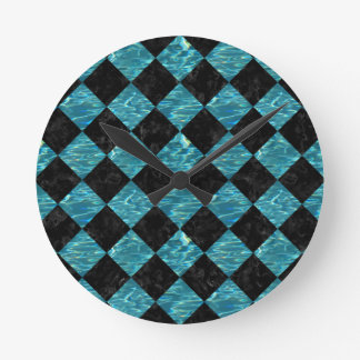 SQUARE2 BLACK MARBLE & BLUE-GREEN WATER ROUND CLOCK