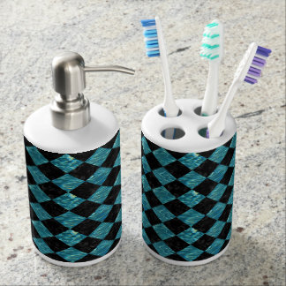 SQUARE2 BLACK MARBLE & BLUE-GREEN WATER SOAP DISPENSER AND TOOTHBRUSH HOLDER