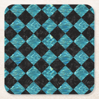 SQUARE2 BLACK MARBLE & BLUE-GREEN WATER SQUARE PAPER COASTER
