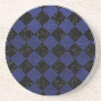 SQUARE2 BLACK MARBLE & BLUE LEATHER COASTER