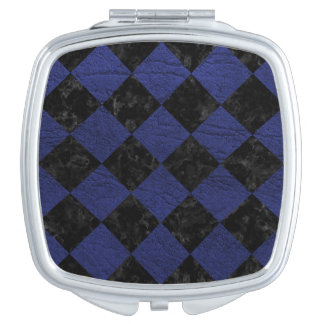 SQUARE2 BLACK MARBLE & BLUE LEATHER COMPACT MIRROR