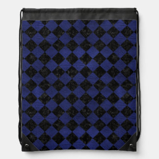 SQUARE2 BLACK MARBLE & BLUE LEATHER DRAWSTRING BAG