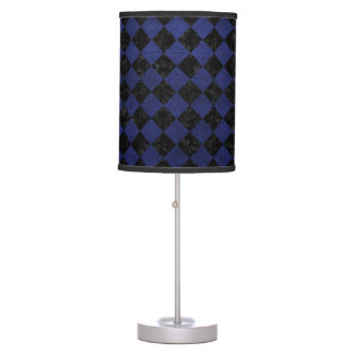 SQUARE2 BLACK MARBLE & BLUE LEATHER TABLE LAMP