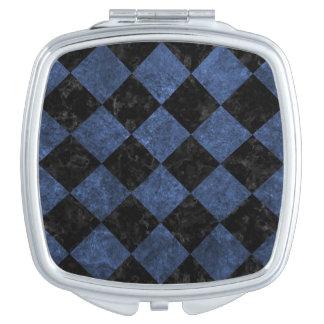 SQUARE2 BLACK MARBLE & BLUE STONE COMPACT MIRROR