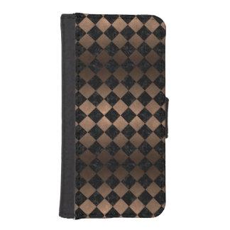 SQUARE2 BLACK MARBLE & BRONZE METAL iPhone SE/5/5s WALLET CASE