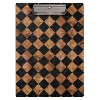 SQUARE2 BLACK MARBLE & BROWN STONE CLIPBOARD