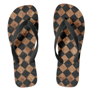 SQUARE2 BLACK MARBLE & BROWN STONE FLIP FLOPS