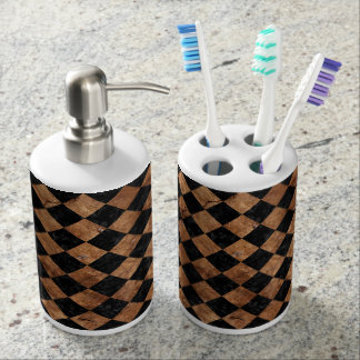 SQUARE2 BLACK MARBLE & BROWN STONE SOAP DISPENSER AND TOOTHBRUSH HOLDER