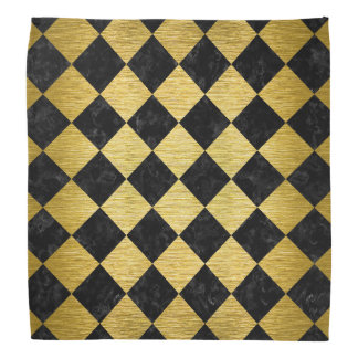 SQUARE2 BLACK MARBLE & GOLD BRUSHED METAL BANDANA