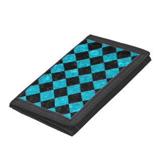 SQUARE2 BLACK MARBLE & TURQUOISE MARBLE TRI-FOLD WALLET