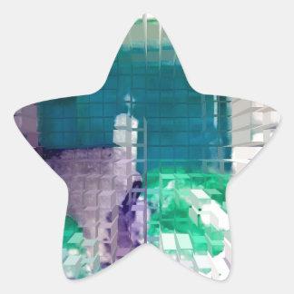 Square #4 design star sticker