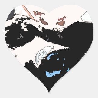 Square #5 design heart sticker