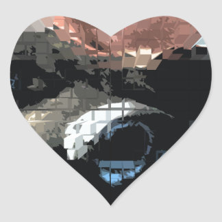 Square #6 design heart sticker