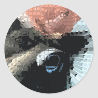 Square #6 design round sticker