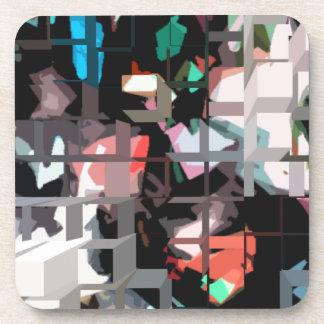Square #8 design beverage coasters