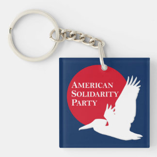 Square Acrylic Key Chain with Red & White ASP Logo