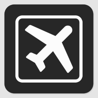 Square airplane icon aviation stickers