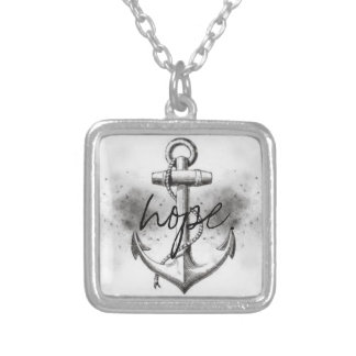 Square Anchor Hope Silver Plated Necklace