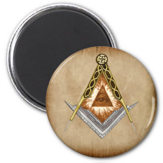 Square and Compass with All Seeing Eye 2 Inch Round Magnet