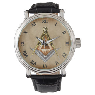 Square and Compass with All Seeing Eye Watch