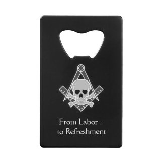 Square and Compass with Inset Skull Credit Card Bottle Opener