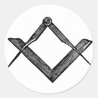 Square and compasses classic round sticker