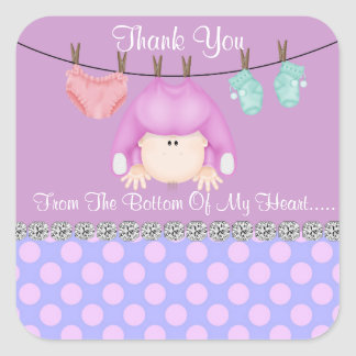 Square BABY GIRL SHOWER FAVOR STICKERS/Labels Stickers