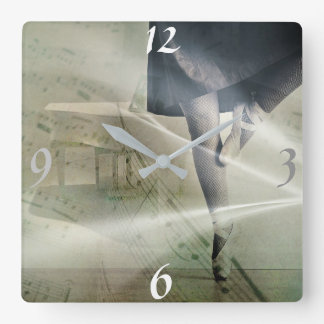 Square, Ballerina Clock With Silver Arms