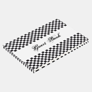 square black and white guest book