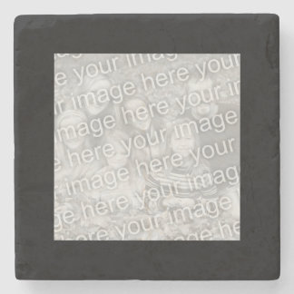 Square Black Border Photo Stone Beverage Coaster