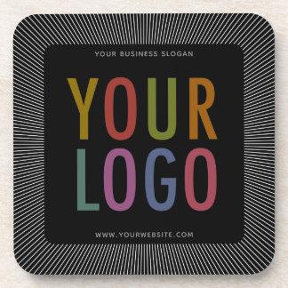Square Black Custom Plastic Coasters Company Logo