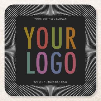 Square Black Pulpboard Paper Coasters Company Logo