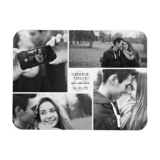 Square Block Save The Date Photo Collage Magnet