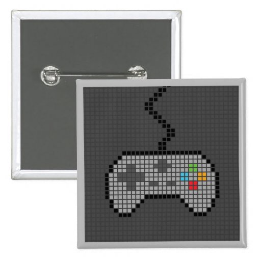 Square Blocky Gamepad Button with dark Background