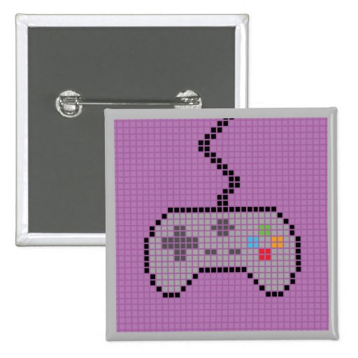 Square Blocky Gamepad Button with pink Background