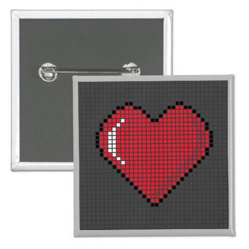 Square Blocky Heart Button with Dark Background