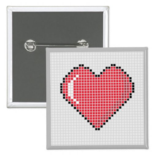 Square Blocky Heart Button with Light Background