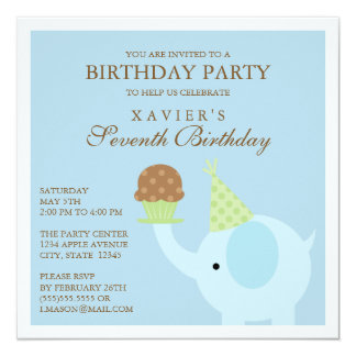 Square Blue Elephant Birthday Party Invitation
