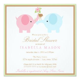 Square Blue Elephant Bridal Shower Invitation