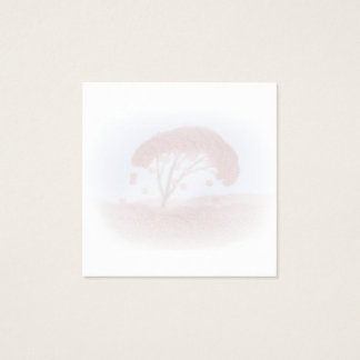 square business card with spring blooming tree