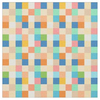 Square Checkerboard Multicolor Bright Rainbow Fabric