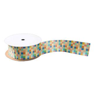 Square Checkerboard Multicolor Bright Rainbow Satin Ribbon