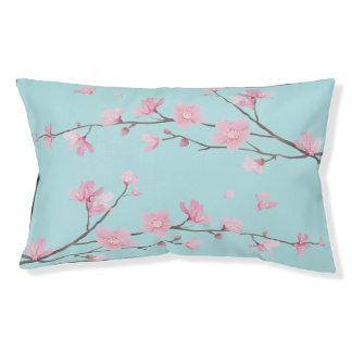 Square- Cherry Blossom - Sky Blue Pet Bed